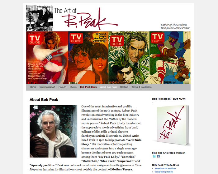 Bob Peak Website – About Page