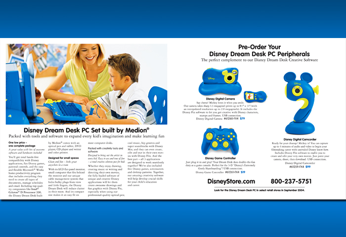 Disney Dream Desk Catalog Inset Brochure