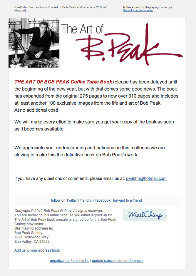 Bob Peak Emails