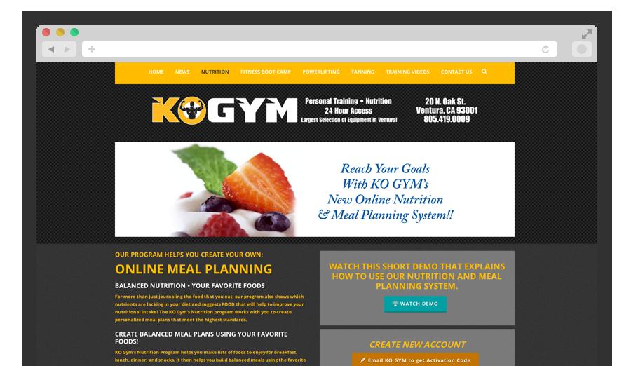 KO Gym Website