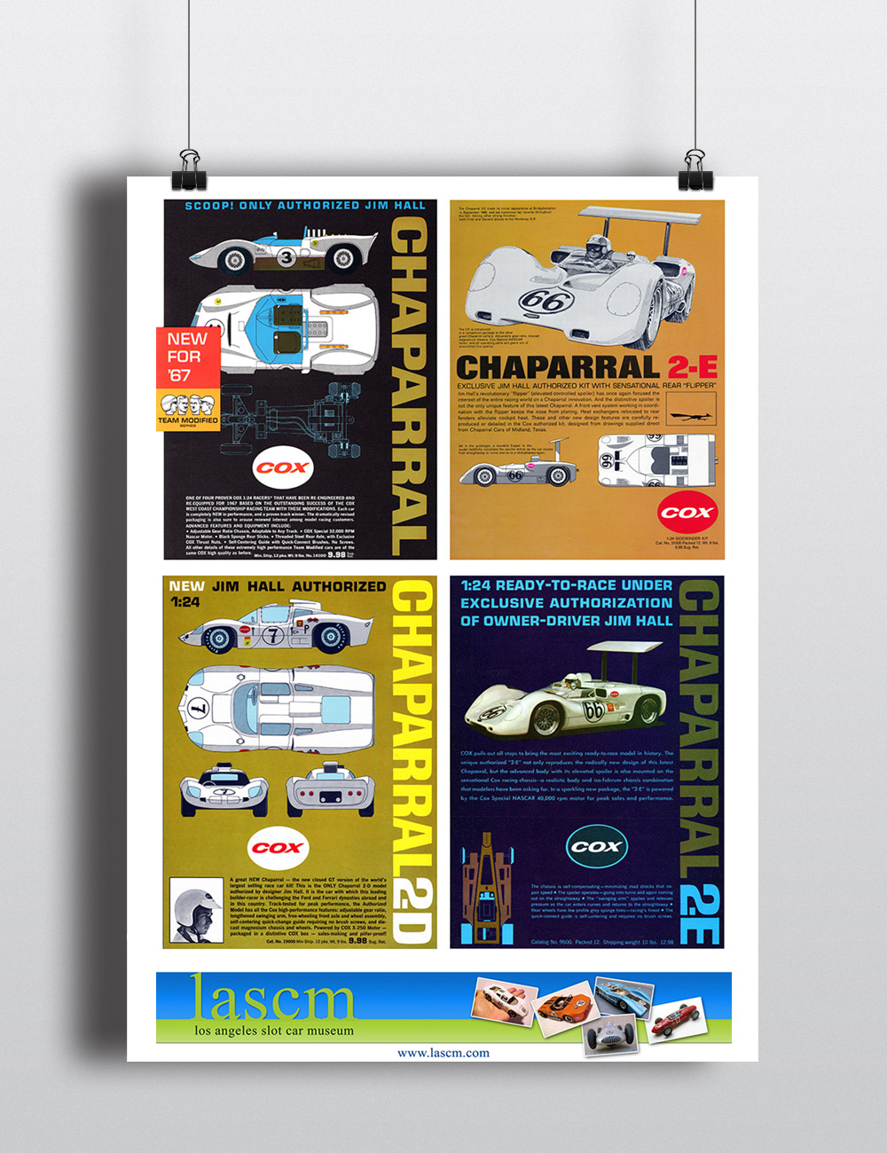 golden age of slot cars museum posters for LASCM by Seen Designs