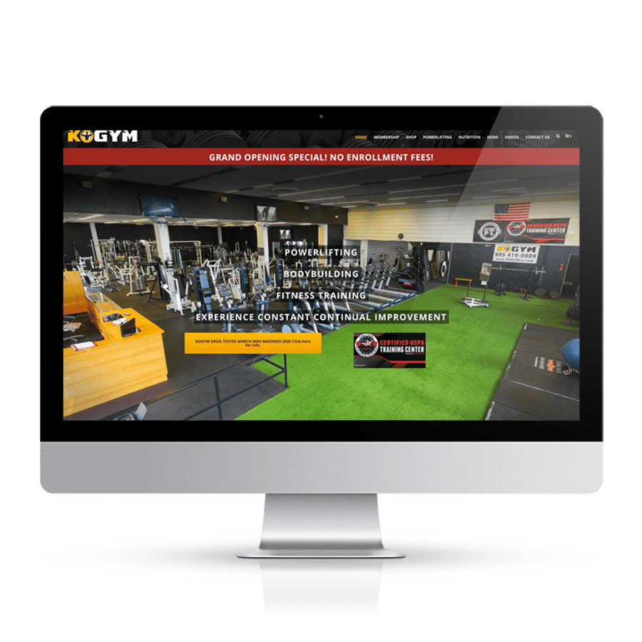 KOGYM Website Homepage iMac